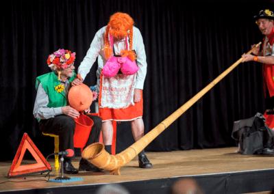 spectacle typique suisse avec docteur silac le petit suisse avec le cors des alpes